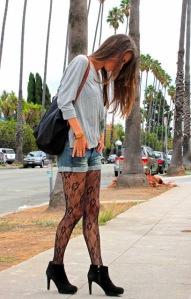 shirt shorts lace tights booties