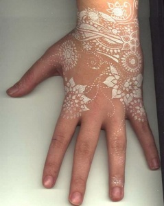 hand-tattoo-white-color